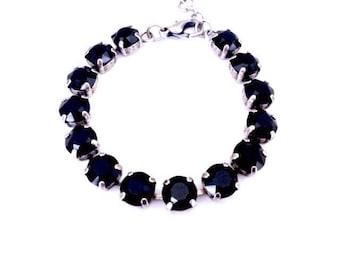 Black Onyx • Swarovski Crystal Bracelet
