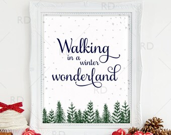 walking in a winter wonderland printable wall art winter wonderland christmas printable christmas print christmas lyrics art