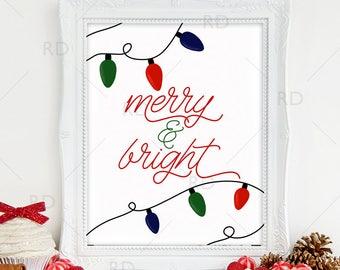 merry and bright printable wall art christmas lights wall art print christmas printable christmas lyrics merry bright lyrics art