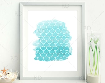 Mermaid Scales on Shades of Blue Watercolor - PRINTABLE Wall Art / Mermaid print / Mermaid art print / Nautical art / 2 for price of 1!