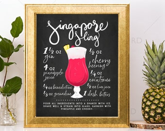Singapore Sling Chalkboard Cocktail with Recipe - PRINTABLE Wall Art / Cocktails Mixed Drinks Wall Art / Hand Drawn Cocktails / Cocktail Art