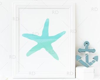Starfish with Aqua/Light Teal Watercolor Overlay - PRINTABLE Wall Art / Starfish print / Nautical art print / Hand Drawn Art / 2 For 1
