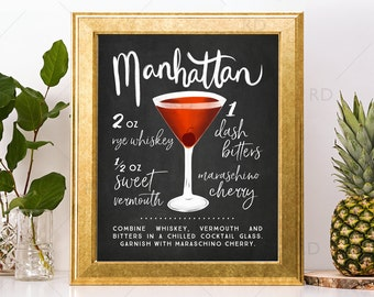 Manhattan Drink Art Etsy