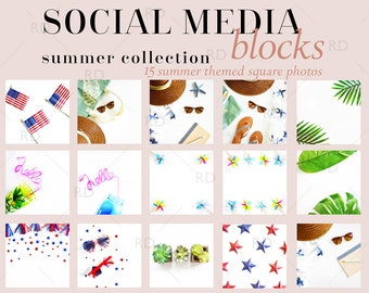Download Free Styled Stock Photography Squares for Social Media Summer Collection / Styled Stock Photography / Square Stock Photo Mockups / Stock Photos PSD Template