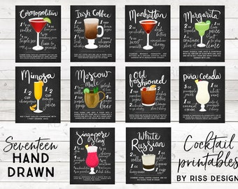 LIMITED TIME ONLY - Cocktail Chalkboard Printable Bundle Wall Art / Cocktails Mixed Drinks Wall Art / Hand Drawn Cocktails / Cocktail Print