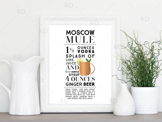 moskau mule cocktail druckbare wandkunst cocktail rezept etsy. Black Bedroom Furniture Sets. Home Design Ideas