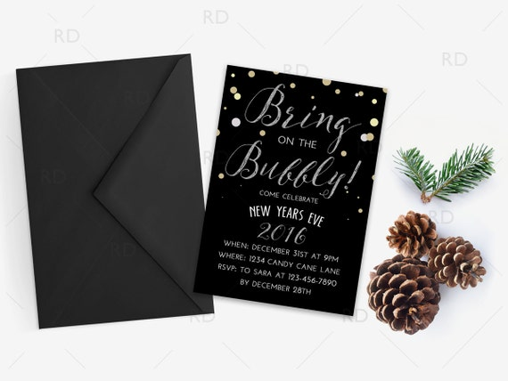 Bring on the Bubbly! New Years Eve Invitation