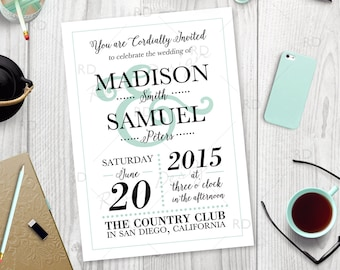 Modern Wedding Invitation - PRINTABLE / custom colors / save the date card