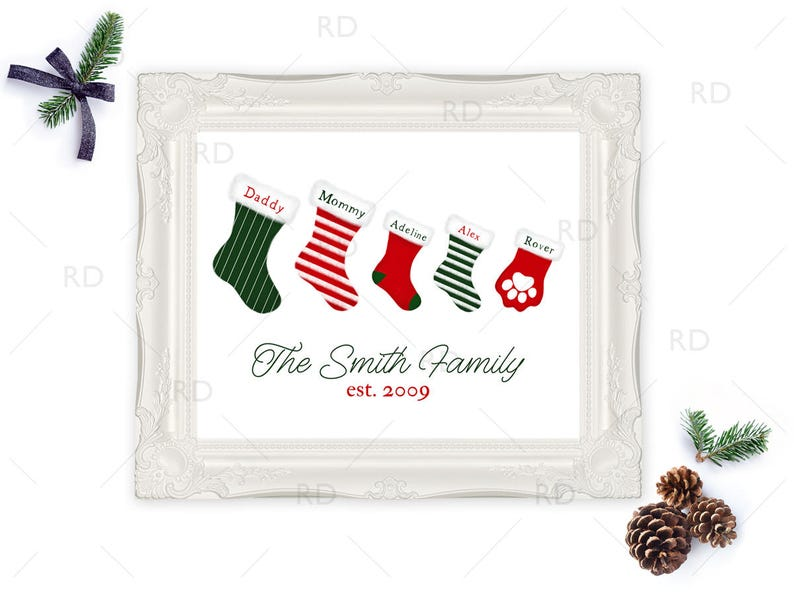 photo regarding Printable Stockings named Family members Stockings Xmas Artwork - PRINTABLE Wall Artwork / Stocking Artwork for Family members / Xmas Wall Artwork / Custom made Xmas Wall Printable