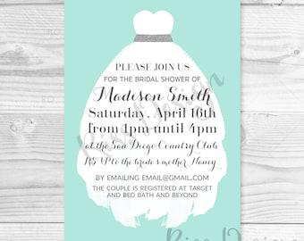 Bridal Shower Invitation with Wedding Dress PRINTABLE / Wedding Shower Invitation / Bridal Invitation / Rustic / Vintage Bridal Invite