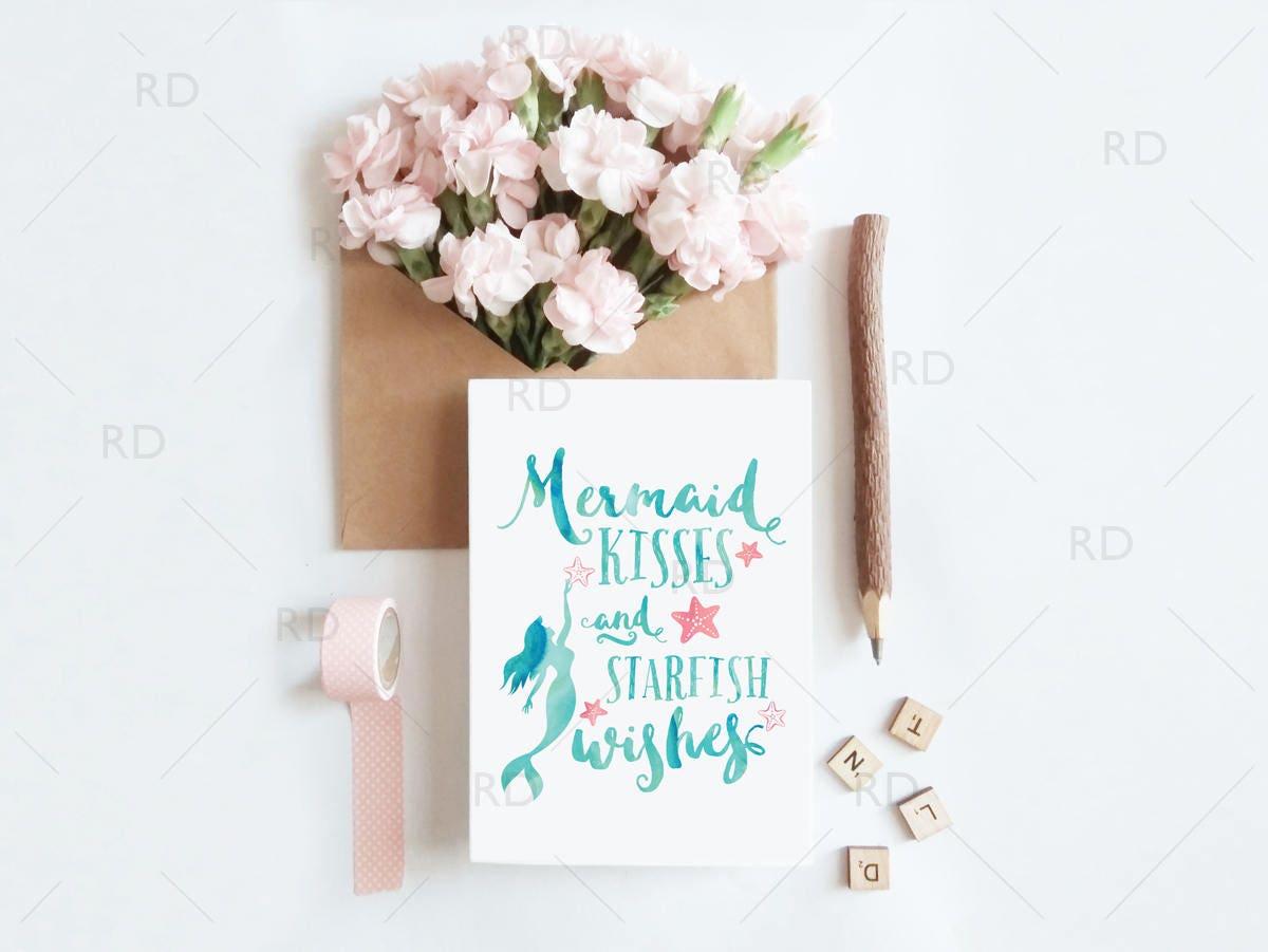 Mermaid Kisses And Starfish Wishes Greeting Card Mermaid Etsy