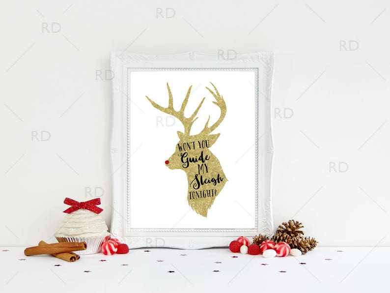 graphic about Words to Rudolph the Red Nosed Reindeer Printable identify Wont Your self Specialist My Sleigh Tonight? - PRINTABLE Wall Artwork / Vacation Wall Artwork / Xmas Tune Lyrics Artwork / Rudolph the Purple Nosed Lyrics Artwork