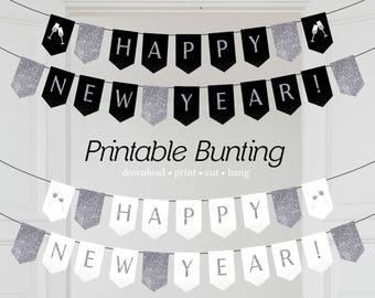 happy new year printable letter bunting download digital banner pdf garland party decor new years eve printable black silver bunting