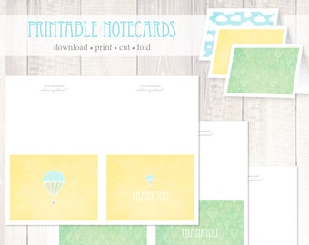 Hot Air Balloon Printable Notecards Instant Download - digital 8.5x11 blank thank you notecards, party decor, blue yellow green, thank you