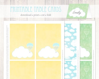 Hot Air Balloon Printable Table Cards Instant Download - digital placecards, buffet cards, baby, party decor, blue yellow green, tent fold