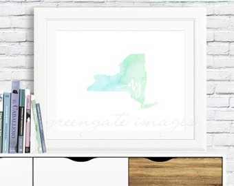 new york wall art new york watercolor new york poster new york map