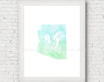 Arizona Printable - digital download, watercolor, blue and green, minimalist art, usa state outline, state map art, gallery wall