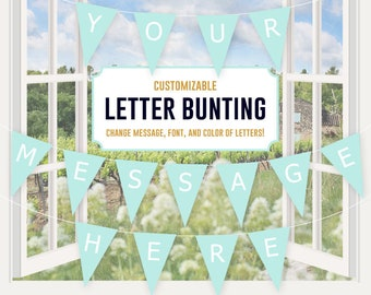 fillable letter banner bunting download editable party etsy