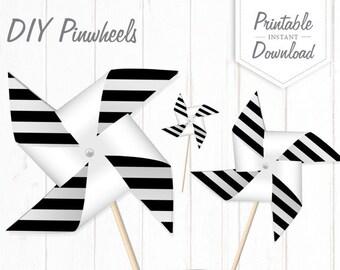 DIY Black And White Striped Pinwheels