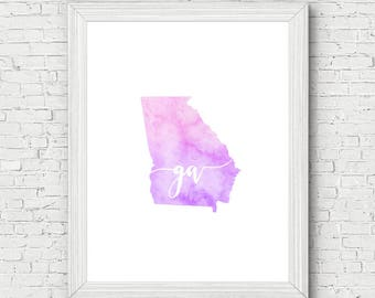 Georgia Printable - digital download, dorm room decor, map art, watercolor, minimalist art, usa state outline, state map, gallery wall