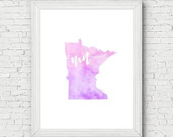 Minnesota Wall Art - minnesota printable, minnesota map art, minnesota watercolor, minnesota decor, gallery wall, printable art, dorm decor