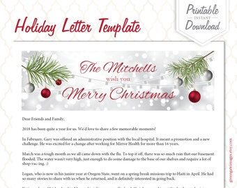 christmas letter template holiday letter template family letter printable editable letter pdf printable letter year in review
