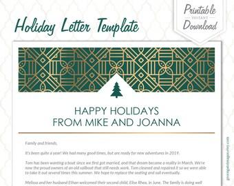 christmas letter template holiday letter template family letter printable editable letter pdf printable letter simple basic green