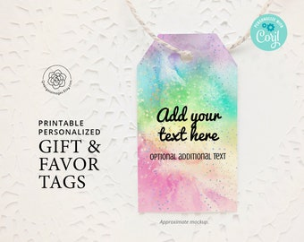 Rainbow Personalize Childrens Gift Tags Set of 12 Custom Hang Tags for Girls and Boys