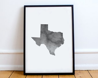 Texas Wall Art   Texas Watercolor, Texas Printable, Texas Map, State Map  Outline, Dorm Decor, Gallery Wall, Minimalist Art, Texas Gray Decor