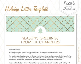 Family Letter Template Holiday Letter Template New Etsy