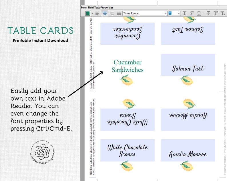 Lemon Place Cards - editable Table Cards, Buffet Food Sign, Buffet Card,  Fruit Food Labels, Tented Cards, Banquet, Tea Party, Bridal Shower
