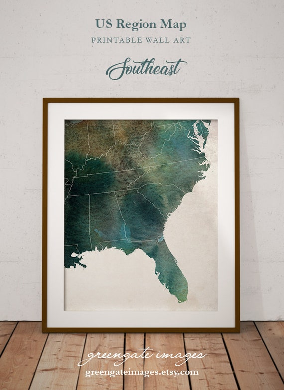Southeast US Map - regional map art, usa regions, regional decor,  southeastern us, florida decor, green watercolor, office decor, dorm decor