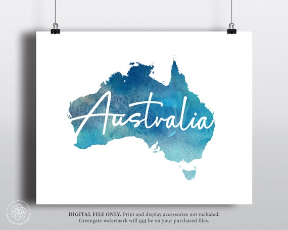 Australia Map Art Printable Australia Map Outline Turquoise Aqua Blue Watercolor Travel Art Dorm Decor Gallery Wall Simple Modern