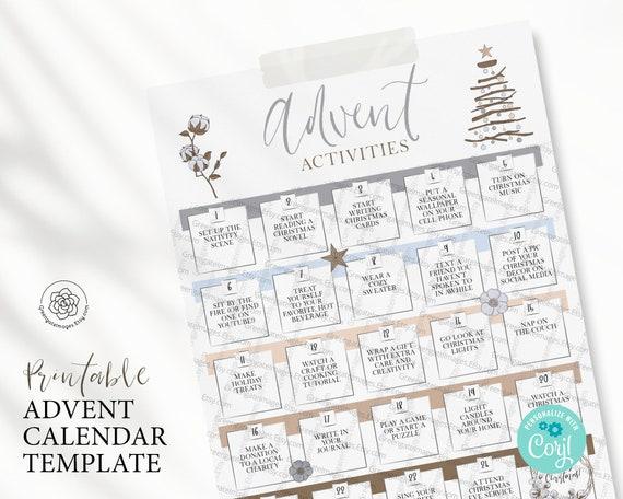 PRINTABLE Advent Calendar  Advent Calendar Template Edit in