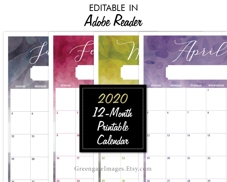 2020 February Calendarfillable 2020 Editable Calendar fillable calendar 12 month | Etsy