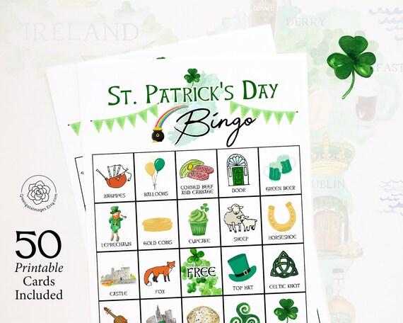 St. Patrick's Day Bingo Cards: Printable bingo cards 50