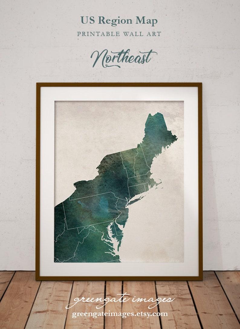 Northeastern Wall Art - northeastern us, northeastern region, us region  wall art, northeastern decor, northeast map, office decor, vintage