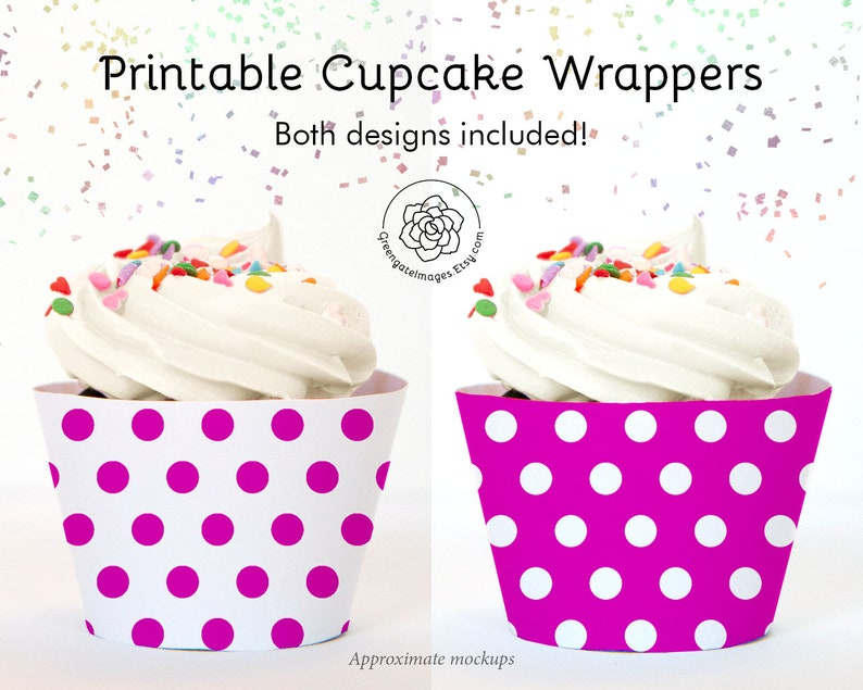 photograph regarding Printable Cupcake Wrappers named Magenta Polka Dot Cupcake Wrappers - Instantaneous Down load, magenta and white, printable cupcake wraps, social gathering printable, bridal shower