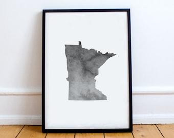 Minnesota Wall Art - minnesota printable, minnesota decor, minnesota watercolor, minnesota map, dorm decor, gallery wall, minimalist art
