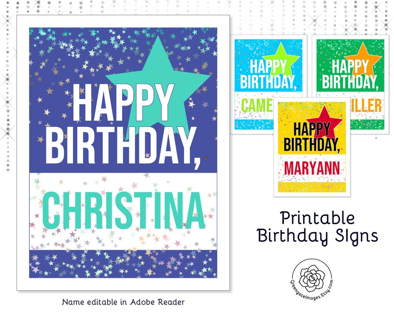 image about Printable Birthday Signs known as Printable Birthday Indications - editable pdf, 8.5x11 inch, fillable pdf, reusable, personalize, clroom birthday, workplace birthday, delighted birthday