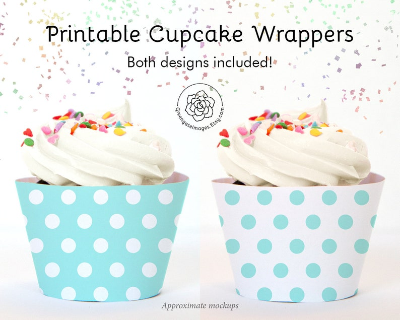 photograph about Free Printable Cupcake Wrappers named Aqua Polka Dot Cupcake Wrappers - Prompt Obtain, aqua and white, salmon coloration, printable cupcake wraps, social gathering printables, child shower