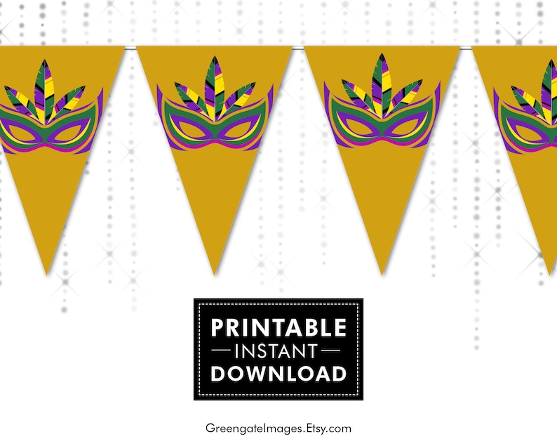 photo regarding Printable Mardi Gras Masks called Mardi Gras Mask Printable Bunting Down load - banner obtain, get together decor, bash printable, mardi gras banner decoration, masquerade decor