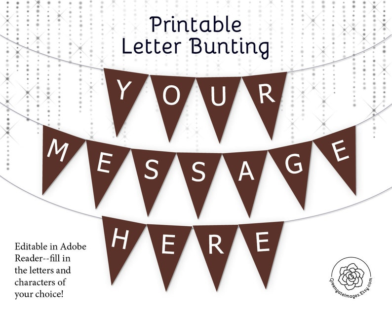 picture regarding Free Printable Letters for Banners identify Brown Letter Banner Bunting Printable - editable banner, get together decor, get together printable, customized banner information, chocolate brownbanner pdf