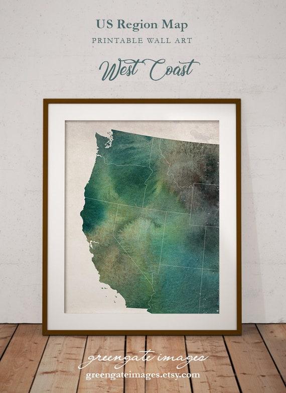 West Coast Map Art - west coast decor, west coast watercolor, us regional  art, california watercolor, wall art printable, digital download