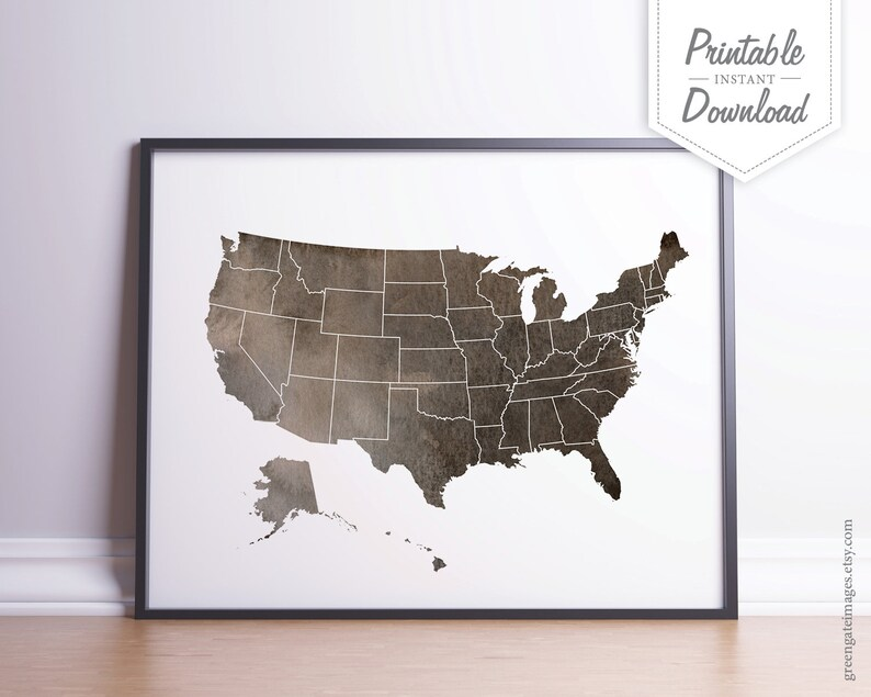Usa Map Art Printable Wall Art Brown Watercolor Us Map Etsy - Us-map-printables