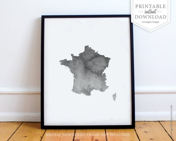 France Map Art INSTANT DOWNLOAD France map outline | Etsy