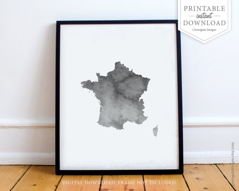 Map Of France Outline Only.France Map Art Instant Download France Map Outline Minimalist Gray Watercolor Travel Art Dorm Decor Gallery Wall Simple Modern