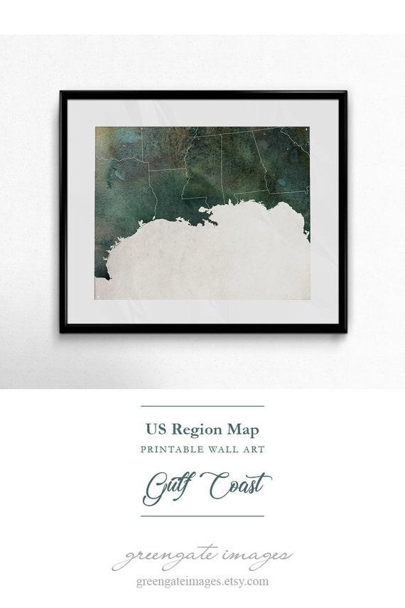 Gulf Coast Art - us regions printable, gulf coast decor, gulf coast map,  regional map art, southern coast, texas louisiana, abstract art
