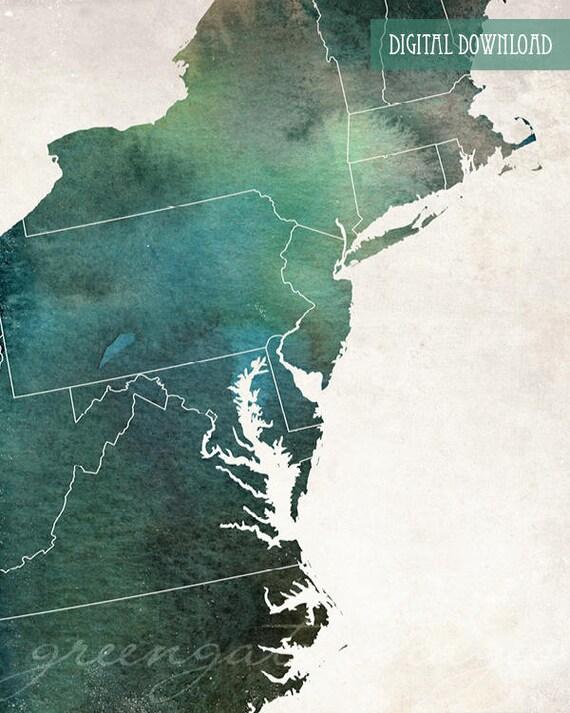 Mid-Atlantic Map Art - us regions, northeast decor, mid-atlantic poster,  east coast, midatlantic printable, printable wall art, watercolor