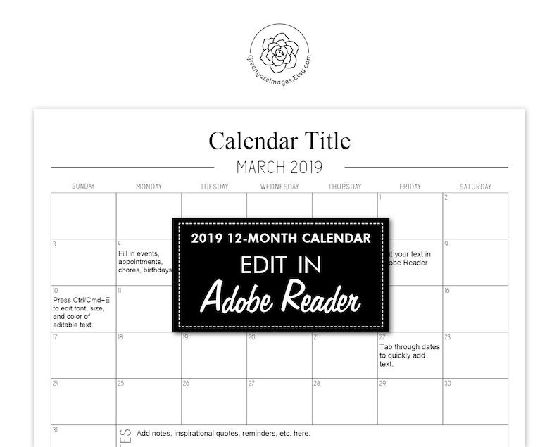 2019 Printable Calendar - LANDSCAPE, fillable planner, editable pdf,  8 5x11, type in text, digital download, calendar template, notes